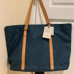 Hearth Hand Magnolia Leather Navy Canvas Tote Bag